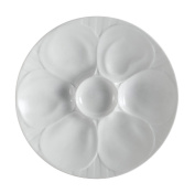 CAC China OYS-9 Porcelain Oyster Plate with 6-Compartment, 23cm , Super White, Box of 24