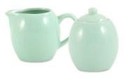 Seafoam Green Ceramic Creamer & Sugar Service Set