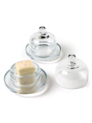 Set of 2 Clear Round Glass 7.6cm 2pc Small Butter Dish with Covered Dome