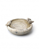 36cm White Grey Terracotta Triple Bird Bath Feeder Figural Flower Pot