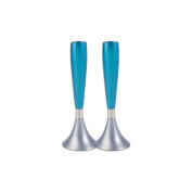 Grey Blue and Turquoise Shabbat Candlestick by Yair Emanuel