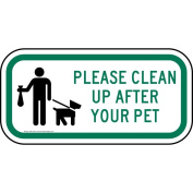 ComplianceSigns Aluminium Pets / Pet Waste sign, Reflective 30cm x 15cm . with Pet Rules info in English, White