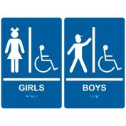 ComplianceSigns Acrylic ADA Girls Boys Restroom Sign Set, 23cm x 15cm . with English + Braille, Blue