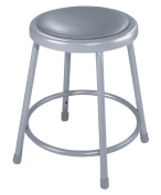 National Public Seating 6418-CN Steel Stool with 46cm Vinyl Upholstered Seat, Grey