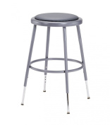 National Public Seating 6418H-CN Steel Stool with Vinyl Upholstered Seat Adjustable, 48cm - 70cm , Grey
