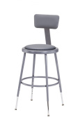 National Public Seating 6418HB Grey Steel Stool with Vinyl Upholstered Seat Adjustable and Backrest, 48cm - 70cm