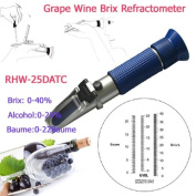 Sinotech 3 in 1 Hand Held Grape & Alcohol Refractometer Rhw-25datc 0-40% Brix 0-25%vol 0-22baume Blue Grip