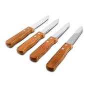 SET OF 4 - 13cm Blade Restaurant Style Steak Knives, Round Tip, Thick-Grip Wood Handle Steak Knife Set