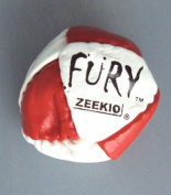 Zeekio- The Fury Footbag -14 Panel Leather -Sand Fill - Blue/ White