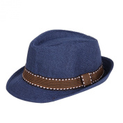 Orien Children Kid Boys Fedora Coffee Belt Canvas Spring Top Hat Jazz Cap -Navy
