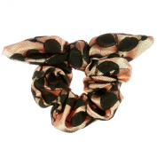 Johnny Loves Rosie Scrunchie with Black Lace Overlay, Light Pink Satin Ears