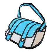 Five Season Blue 3D Messenger Comic Bag 3D Jump Style 2D Drawing From Cartoon Paper Bag