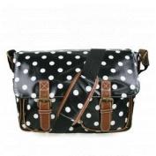 Black & White Polka Dot Spot Oilcloth Ladies Satchel Fashion Handbag With Hanging Heart Gift