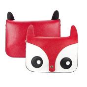 Five Season Cute Fox Shoulder Messenger Bag Pu Leather Crossbody Satchel Handbag Red