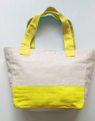 Yellow Totes - Chic Colour Block Cotton Twill Yellow Bags with Internal Pouches and Zip Fastening Pocket - Handmade Yellow Tote Bag for Use as Shopping Bags or Gifts - Washable Canvas Bags in Yellow and Cream Colour