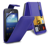 (Dark Blue for Samsung Galaxy Ace 3 S7270 Protective Faux Leather Debit/Credit Card Slot Flip Case Cover Skin, Retractable Capacative Touch Screen Stylus Pen & 3 Screen Protector Guard By *Aventus*