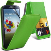 (Green for Samsung Galaxy S4 i9500 Protective Faux Leather Debit/Credit Card Slot Flip Case Cover Skin & 3 Screen Protector Guard By *Aventus*