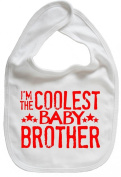 Dirty Fingers, I'm the Coolest Baby Brother, Boy Girl Feeding Bib, White