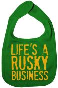 Dirty Fingers, Life's a Rusky Business, Boy Girl Feeding Bib, Green