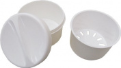 Denture base / dental container /denture base box /braces container with a sieve and lid, colour white