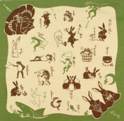 Japanese Cloth Kenema Furoshiki 50x50cm Good Fortune Rabbit & Frog