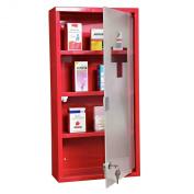 Homcom Red Steel wall mounted Medicine Cabinet with 3 shelves + Security Glass Door Lockable 60 cm