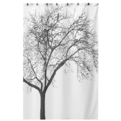 Waterproof Bathroom Fabric Shower Curtain Tree Curtain with Hooks