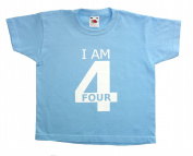 Fab4babystars Children's I Am 4 Birthday T-shirt - Cool Blue - Size 3-4 Years