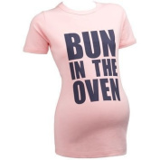 Bun In The Oven SHORT SLEEVE Slogan Maternity Baby Pink T-shirt