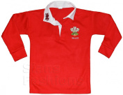 Baby Wales Rugby Shirt Long Sleeved Kids Junier Walesh Sports Top With Embroidered Chest Logo