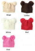 Winter warm earmuffs Baby Love Dual Ball Girls/Boys Wool knit sweater Cap Hat