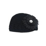 Baby Girls Toddler Crochet Beanie Hat with Flower Clip Black