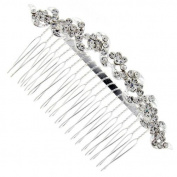 Glitzy Crystal Waved Hair Comb Slide - Free Gift Pouch / Box - BHC0199