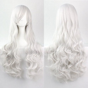 Womens/Ladies 80cm SILVER WHITE Colour Long CURLY Cosplay/Costume/Anime/Party/Bangs Full Sexy Wig