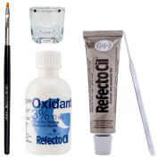 Refectocil Eyelash Eyebrow Tint Dye Kit Light Brown No 3.1 +brush Dish Developer