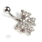 Fashion Crystal Cute Silver Bowknot Navel Belly Bars Dangly Belly Ring Hoop Body Jewellery