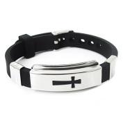 Cross Stainless Steel Bracelet Black Rubber Bangle
