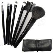 New 7PCS Professional Handle Makeup Cosmetic Brush Set With Black Case