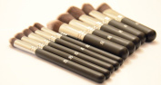 IB Essential 10pc Piece Luxury Black With Chrome Copper Silver Make Up Brush Brushes Set For Eyes & Face