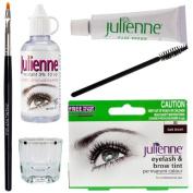Julienne Eyelash Eyebrow Tint Tinting Kit Dye Dark Brown Tint Brush Dish Oxidant