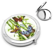 """CKB Ltd ® 1 x TRIPLE Butterfly Mother of Pearl Effect Make Up Pocket Compact Mirror cosmetic Art Deco Bamboo Stick Leaf Pattern 7.7x7cm (3""""x2-3/4""""),"""