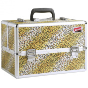 Beautify Professional Large African Leopard Print Aluminium 8 compartment Beauty Box Cosmetics & Make Up Case