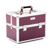 Urbanity Classic Purple Crocodile Professional Aluminium Beauty Cosmetics Makeup Case