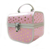 Milan Cosmetic/Jewellery Beauty Case Gold with Pink Stars