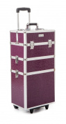 Urbanity Classic Purple Crocodile Professional Aluminium Beauty Makeup Cosmetic Trolley Case