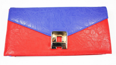. Ex High Street, Red and Blue Faux Leather CLUTCH / HAND BAG with Swivel Clasp Fastener, 28 X 13 CM (Cosmetics Not Included)