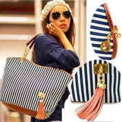 Beautylife1X Fashion Women Handbag Ladies Shopping Tote Stripes Tassel Shoulder Bag Linen
