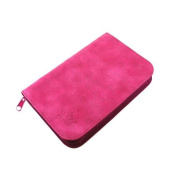 PUEEN Super Slim 168 Nail Stamping Plates Synthetic Leather Holder Case Organiser in Hot Pink Rosy Lace Pattern