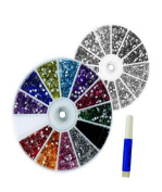 2400 X NAIL ART TIP GEMS CASE RHINESTONES ROUND DIAMANTE 1.5mm 12 COLOURS OR SILVER