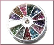 Restly(TM) 1800pcs 2mm Round Budget Nail Art Rhinestone/Gem Wheel